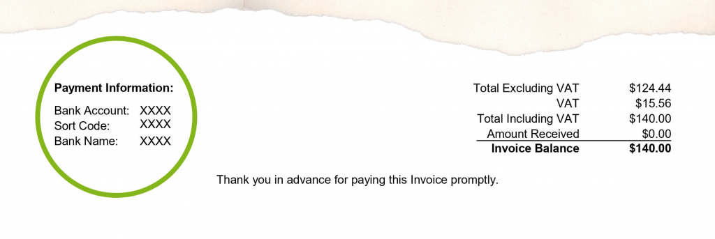 An example of how to include payment information to ensure you are paid on time.